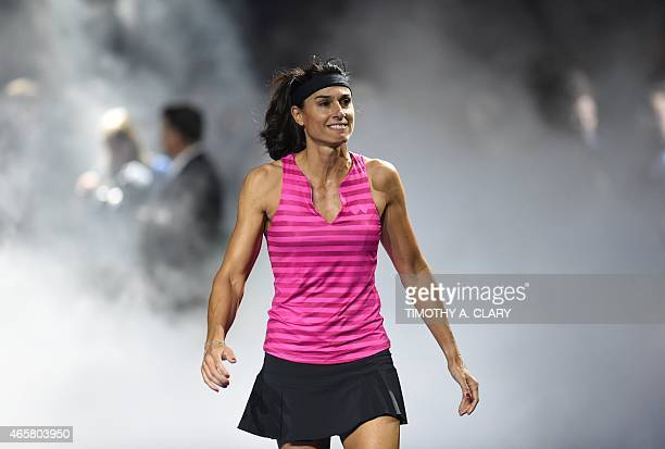 Gabriela Sabatini arrives for her match against Monica Seles during the BNP Paribas Showdown on March 10 2015 at Madison Square Garden to celebrate...
