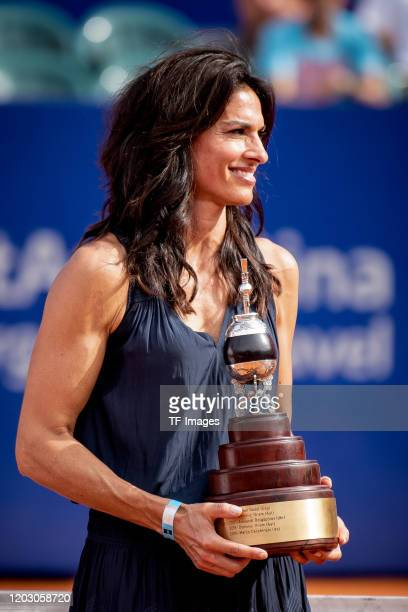 Gabriela Sabatini of Argentina looks on during day 7 of ATP Buenos Aires Argentina Open at Buenos Aires Lawn Tennis Club on February 16 2020 in...