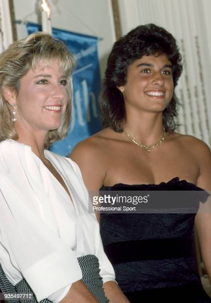 Gabriela Sabatini of Argentina poses with Chris Evert of the USA during the 18th Annual Women's Tennis Association Awards Banquet on August 29 1994...