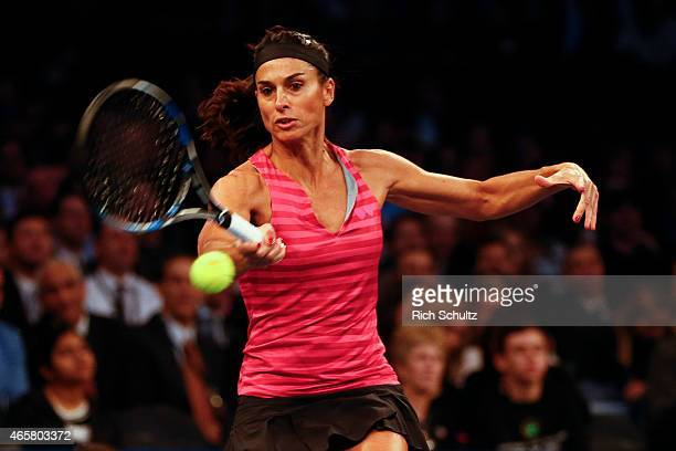 Gabriela Sabatini of Argentina returns during the BNP Paribas Showdown against Monica Seles of the United States at Madison Square Garden on March 10...