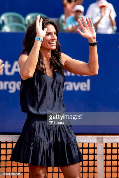Gabriela Sabatini of Argentina smiles during day 7 of ATP Buenos Aires Argentina Open at Buenos Aires Lawn Tennis Club on February 16 2020 in Buenos...