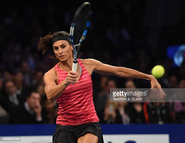 Gabriela Sabatini returns against Monica Seles during the BNP Paribas Showdown on March 10 2015 at Madison Square Garden to celebrate the 25th...