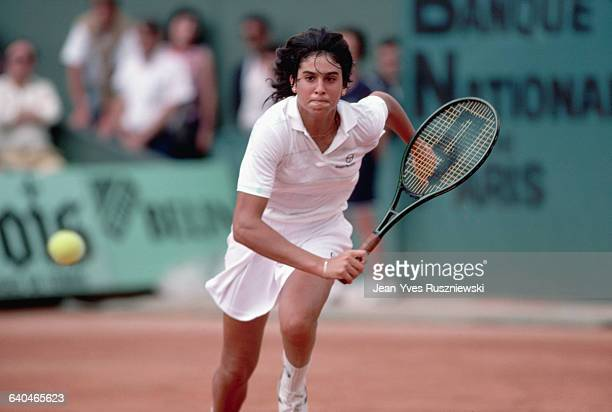 Gabriela Sabatini runs for a backhand shot during the 1985 French Open