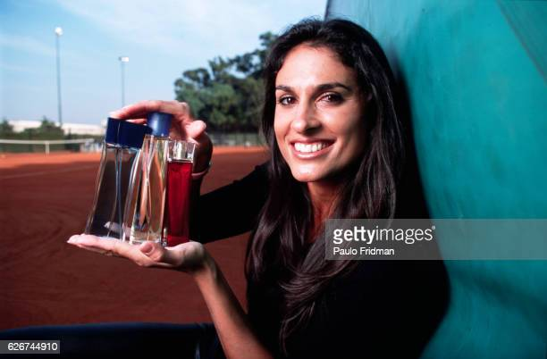 Gabriela Sabatini shows off her new line of products including perfumes watches bath towels and robes at the Buenos Aires Lawn Tennis Club Photo by...