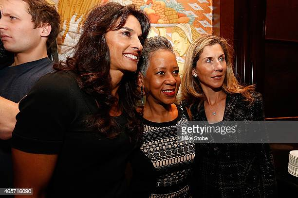 Gabriela Sabatini USTA President Katrina Adams and Monica Seles pose for a photo during the World Tennis Day Welcome Reception at Essex House on...