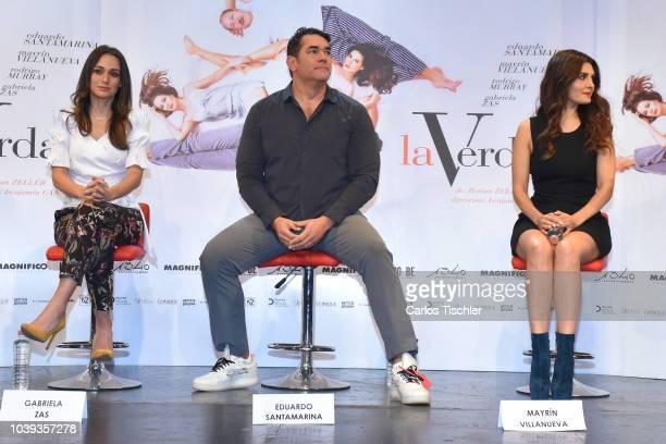 Gabriela Saz Eduardo Santamarina and Mayrin Villanueva look on during a press conference to promote the theater play 'La Verdad' at Xola Theather on...