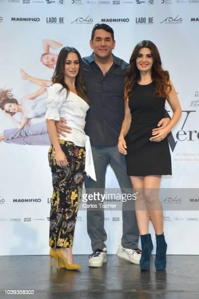 Gabriela Saz Eduardo Santamarina and Mayrin Villanueva pose during a press conference to promote the theater play 'La Verdad' at Xola Theather on...