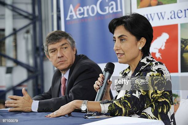 Gabriela Sommerfeld executive president of the Ecuadorean airline Aerogal speaks during a news conference with Fabio Villegas CEO of Avianca in Quito...