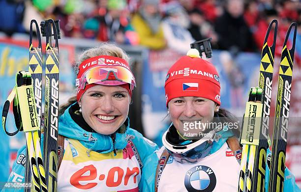 Gabriela Soukalova and Veronika Vitkova of the Czech Republic celebrate after winning forst and third place in the womens individual 15km on day...
