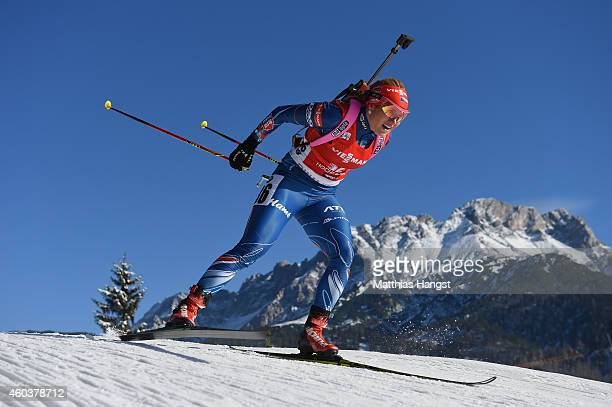 Gabriela Soukalova of Chech competes during the women's 75 km sprint event during the IBU Biathlon World Cup on December 12 2014 in Hochfilzen Austria
