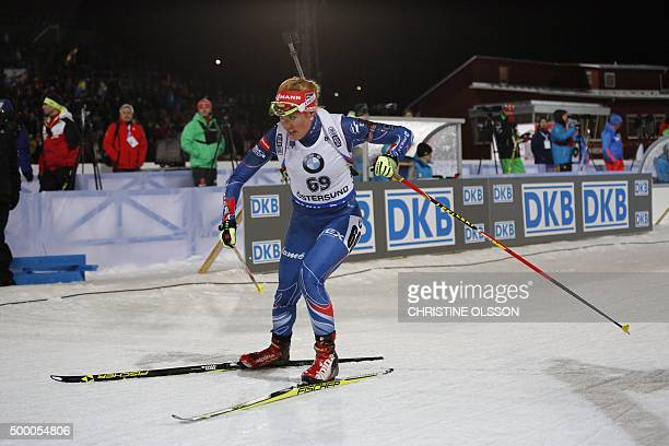 Gabriela Soukalova of Czech Republic competes during the women's 7,5 km sprint competition at the IBU Biathlon World Cup in Ostersund, Sweden, on...