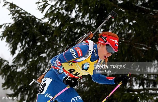 Gabriela Soukalova of Czech Republic competes in the women's 15km individual during day six of the IBU Biathlon World Championships at Holmenkollen...