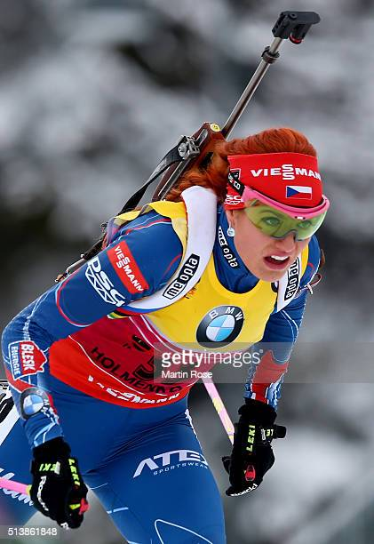 Gabriela Soukalova of Czech Republic competes in the women's 7.5km sprint during day three of the IBU Biathlon World Championships at Holmenkollen on...