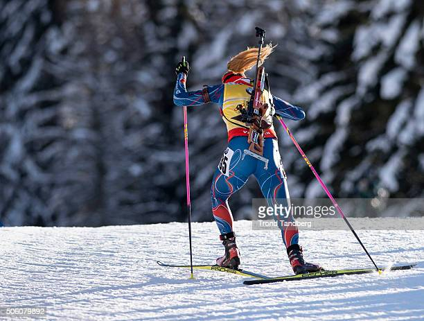 Gabriela Soukalova of Czech Republic in action during the Biathlon Women 75 km Sprint at the IBU Biathlon World Cup Antholtz on January 21 2016 in...