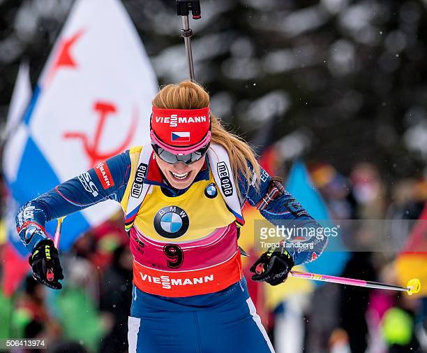Gabriela Soukalova of Czech Republic in action during the Biathlon Women 10 km Pursuit at the IBU Biathlon World Cup Antholtz on January 23 2016 in...