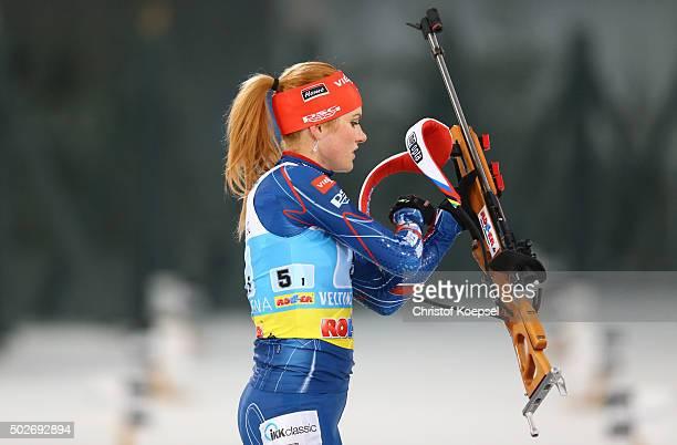 Gabriela Soukalova of Czech Republic loads her gun during the IKK classic Biathlon World Team Challenge 2015 at Veltins-Arena on December 28, 2015 in...