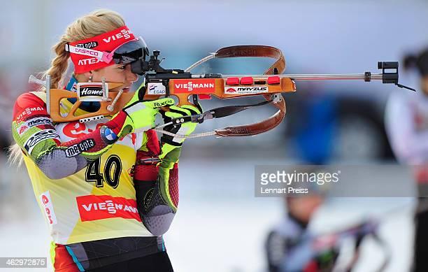 Gabriela Soukalova of Czech Republic shoots during the women's 7.5 kilometer sprint race of the E.ON IBU Biathlon Worldcup on January 16, 2014 in...