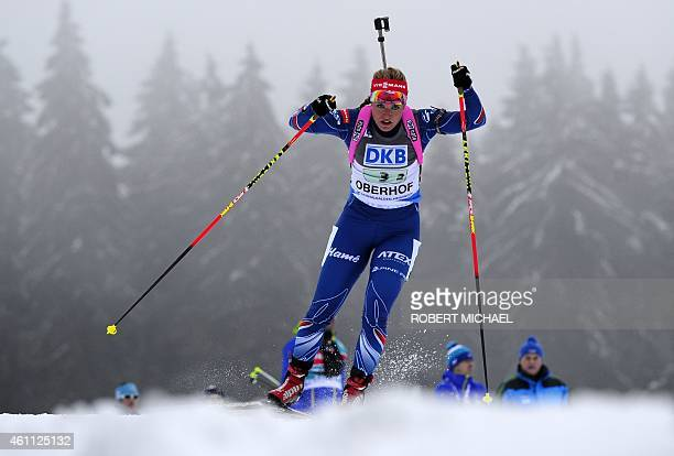 Gabriela Soukalova of team Czech competes during the women's 4 x 6 km relay event of the IBU biathlon World Cup in Oberhof, eastern Germany, on...