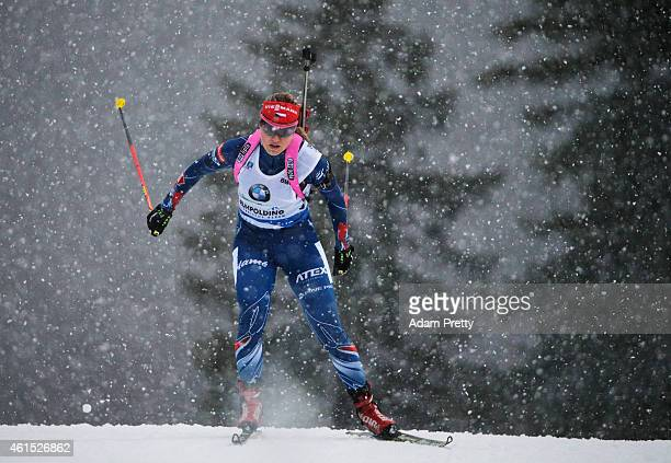 Gabriela Soukalova of the Czech Rebublic in action during the IBU Biathlon World Cup Women's Relay on January 14, 2015 in Ruhpolding, Germany.