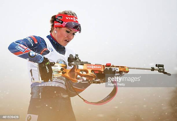 Gabriela Soukalova of the Czech Rebublic shoots during the IBU Biathlon World Cup Women's Relay on January 14, 2015 in Ruhpolding, Germany.