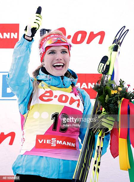 Gabriela Soukalova of the Czech Republic celebrates after victory during the womens individual 15km on day three of the EOn IBU World Cup Biathlon on...