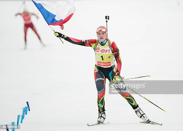 Gabriela Soukalova of the Czech Republic celebrates victory in the womens 10km pursuit on day five of the EOn IBU World Cup Biathlon on January 12...
