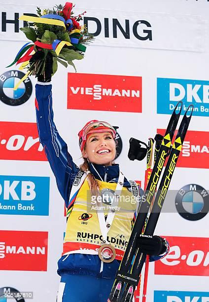 Gabriela Soukalova of the Czech Republic celebrates victory in the Women's 12.5km Biathlon race of the Ruhpolding IBU Biathlon World Cup on January...