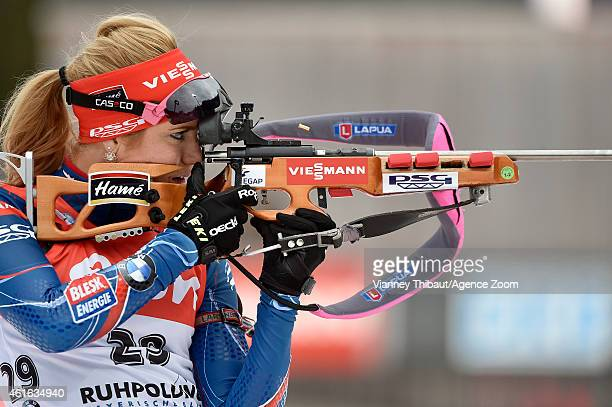 Gabriela Soukalova of the Czech Republic competes during the IBU Biathlon World Cup Women's Sprint on January 16 2015 in Ruhpolding Germany