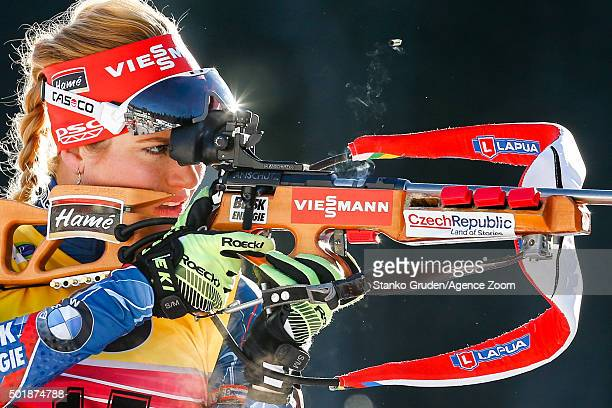 Gabriela Soukalova of the Czech Republic competes during the IBU Biathlon World Cup Women's Sprint on December 18 2015 in Pokljuka Slovenia
