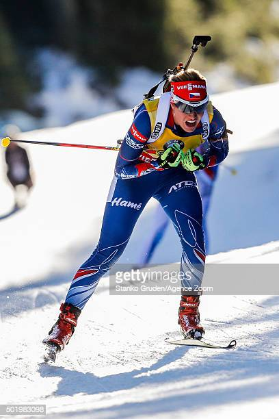 Gabriela Soukalova of the Czech Republic competes during the IBU Biathlon World Cup Men's and Women's Pursuit on December 19 2015 in Pokljuka Slovenia