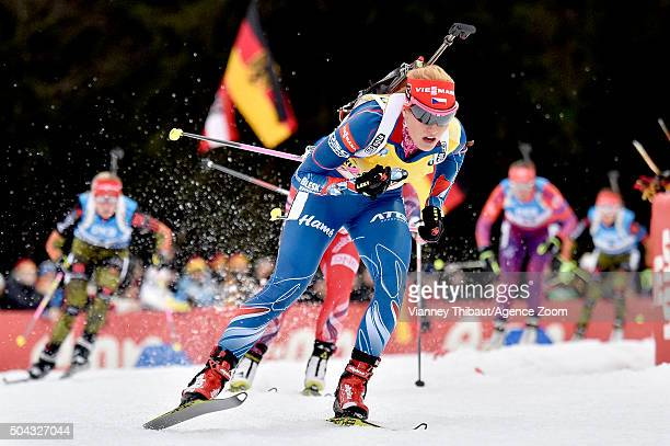 Gabriela Soukalova of the Czech Republic competes during the IBU Biathlon World Cup Men's and Women's Mass Start on January 10, 2016 in Ruhpolding,...