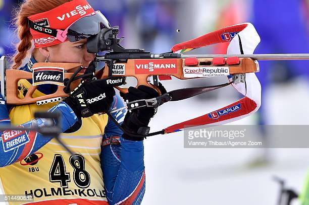 Gabriela Soukalova of the Czech Republic competes during the IBU Biathlon World Championships Women's 15km Individual on March 9 2016 in Oslo Norway