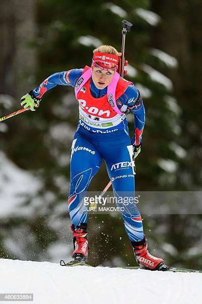 Gabriela Soukalova of the Czech Republic competes during the women's 7,5 km sprint event during the IBU Biathlon World Cup in Pokljuka, Slovenia on...