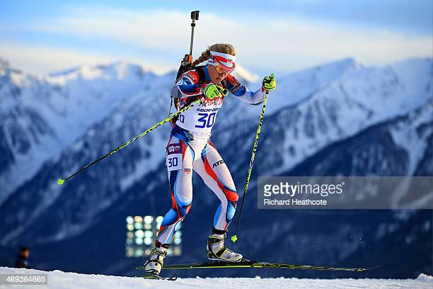 Gabriela Soukalova of the Czech Republic competes in the Women's 15 km Individual during day seven of the Sochi 2014 Winter Olympics at Laura...