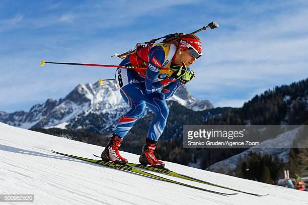 Gabriela Soukalova of the Czech Republic during the IBU Biathlon World Cup Men's and Women's Sprint on December 11, 2015 in Hochfilzen, Austria.