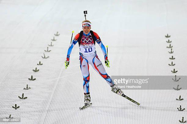 Gabriela Soukalova of the Czech Republic on her way to the finish line to win the silver medal in the Women's 125 km Mass Start during day ten of the...