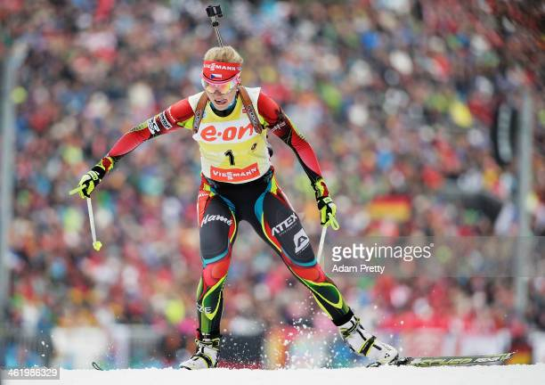 Gabriela Soukalova of the Czech Republic on her way to victory in the womens 10km pursuit on day five of the EOn IBU World Cup Biathlon on January 12...