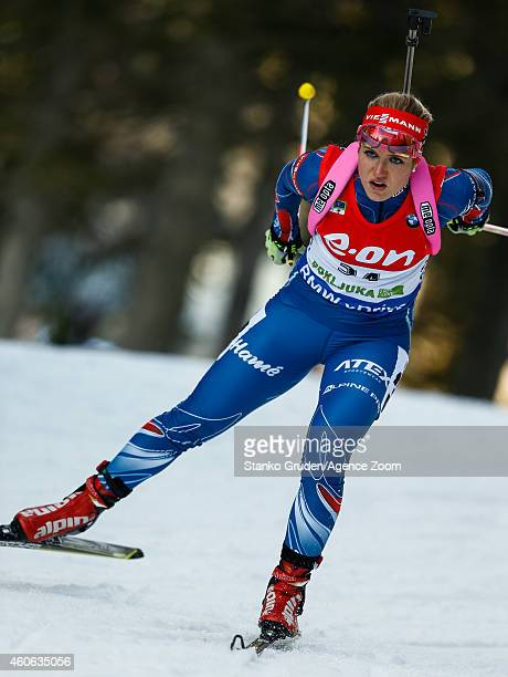 Gabriela Soukalova of the Czech Republic takes 1st place during the IBU Biathlon World Cup Women's Sprint on December 18 2014 in Pokljuka Slovenia