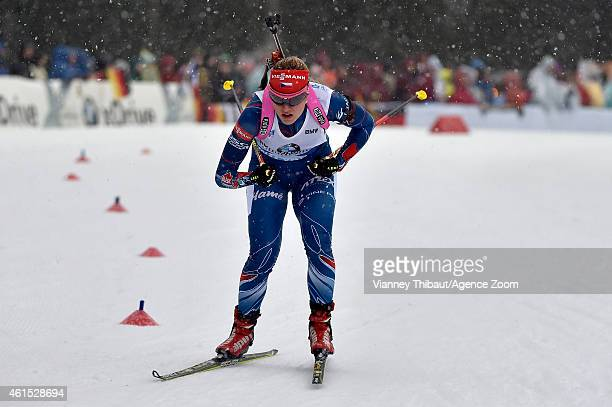 Gabriela Soukalova of the Czech Republic takes 1st place during the IBU Biathlon World Cup Women's Relay on January 14, 2015 in Ruhpolding, Germany.