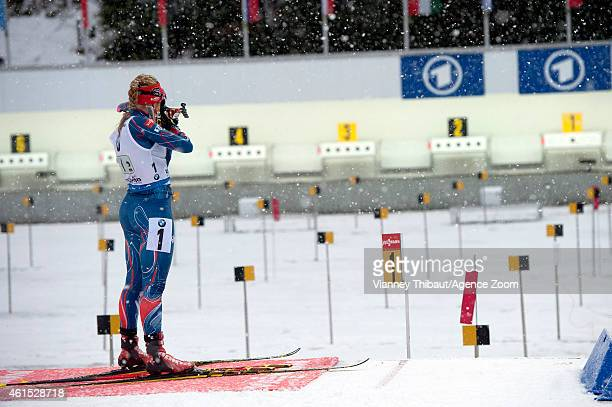 Gabriela Soukalova of the Czech Republic takes 1st place during the IBU Biathlon World Cup Women's Relay on January 14 2015 in Ruhpolding Germany