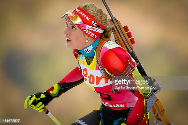 Gabriela Soukalova of the Czech Republic takes 1st place during the IBU Biathlon World Cup Women's 15km on January 10 2014 in Ruhpolding Germany