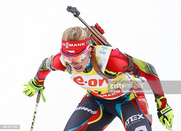 Gabriela Soukalova of the Czech Republic takes 1st place during the IBU Biathlon World Cup Men's and WomenÕs Pursuit on January 12 2014 in Ruhpolding...