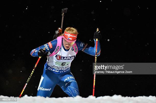 Gabriela Soukalova of the Czech Republic takes 1st place during the IBU Biathlon World Championships Mixed Relay on March 05, 2015 in Kontiolahti,...