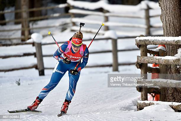 Gabriela Soukalova of the Czech Republic takes 2nd place during the IBU Biathlon World Cup Men's and Women's Relay on January 25 2015 in...
