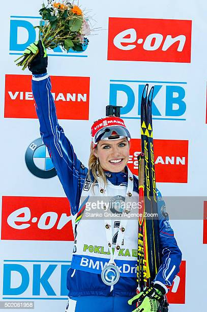 Gabriela Soukalova of the Czech Republic takes 2nd place during the IBU Biathlon World Cup Men's and Women's Mass Start on December 20 2015 in...