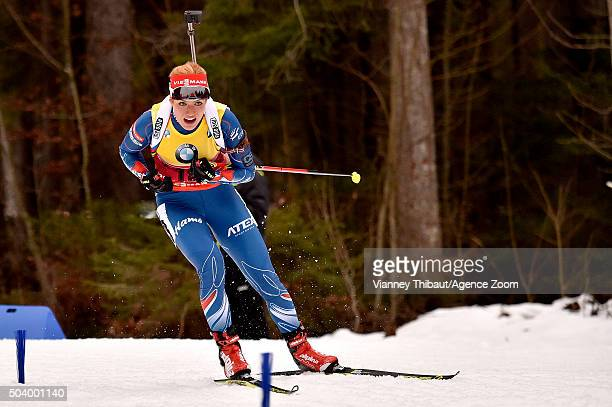 Gabriela Soukalova of the Czech Republic takes 2nd place during the IBU Biathlon World Cup Men's and Women's Sprint on January 8, 2016 in Ruhpolding,...