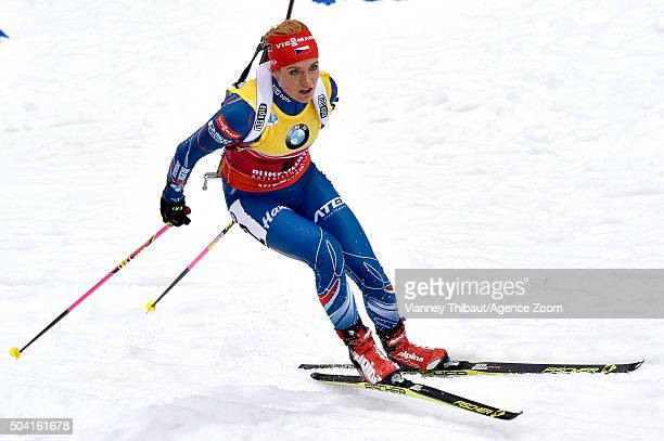Gabriela Soukalova of the Czech Republic takes 2nd place during the IBU Biathlon World Cup Men's and Women's Pursuit on January 9 2016 in Ruhpolding...