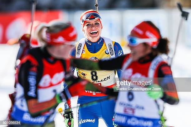 Gabriela Soukalova of the Czech Republic takes 3rd place during the IBU Biathlon World Cup Men's and Women's Pursuit on December 12, 2015 in...
