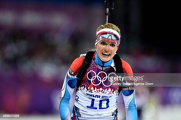 Gabriela Soukalova of the Czech Republic wins silver medal during the Biathlon Women's 12.5km Mass Start at the Laura Cross-country Ski & Biathlon...