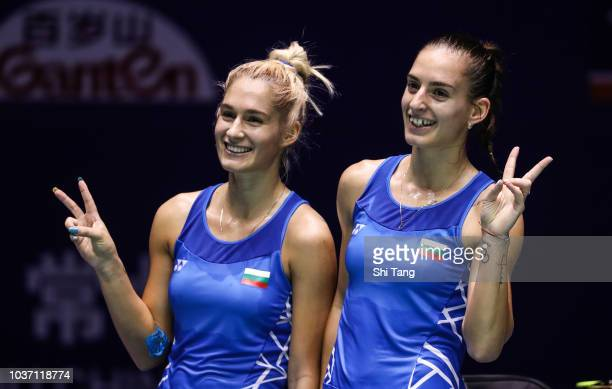 Gabriela Stoeva and Stefani Stoeva of Bulgraia celebrate the victory after their Women's Doubles quarter finals match against Chen Qingchen and Jia...